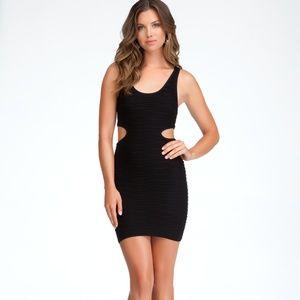 Bebe Black Ribbed Cutout Bodycon Dress